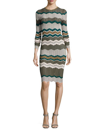 Shakira Long-Sleeve Midi Dress, Olive