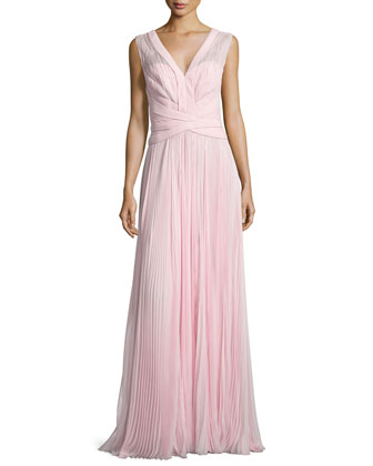 Sleeveless Pleated Gown, Rose Fonce