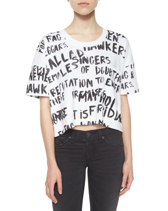 Charley Printed Crop Top, White/Black