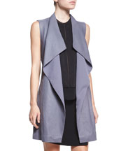 Leather/Ponte Draped Long Vest, Layered Sleeveless Silk Blouse & Ponte ...