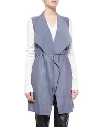 Leather/Ponte Draped Long Vest, Dark Ceramic