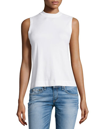 Charley Mock-Turtleneck Top, White
