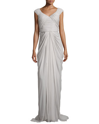Cap-Sleeve Pleated Gown, Gris