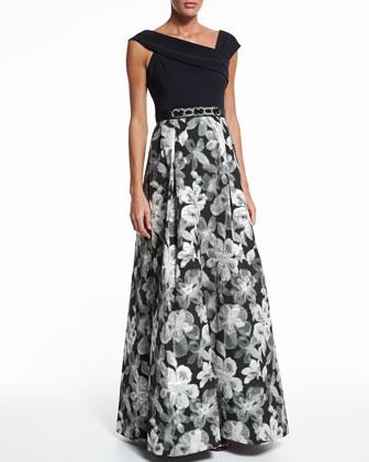 Asymmetric-Neck Floral Skirt Ball Gown