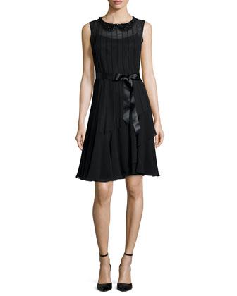 Sleeveless Jeweled-Collar Pintucked Dress