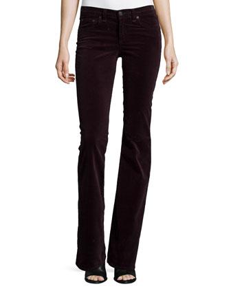 Tegan Plaid Long-Sleeve Tee & Mid-Rise Bell-Bottom Jeans