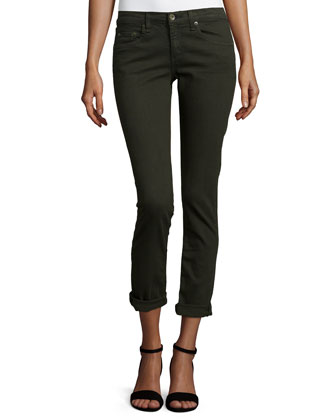 Dre Low-Rise Cropped Denim Jeans, Aged Dark Olive