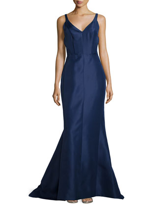 Gazar Sleeveless V-Neck Gown, Marine