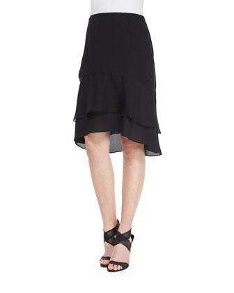 Catherine Tiered Ruffle Skirt, Black