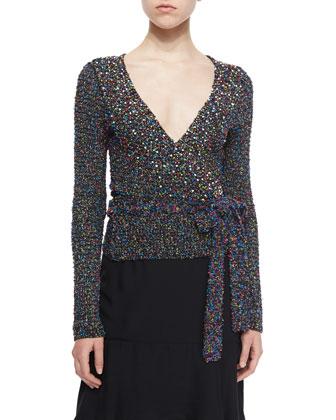 Long-Sleeve Beaded Ballerina Wrap Sweater, Black/Multicolor