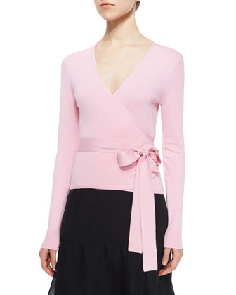 Long-Sleeve Ballerina Wrap Sweater, Pink Ice
