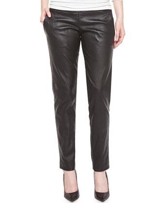 Skinny-Leg Leather Pants, Noir