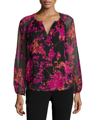 Marnie Floral Daze Sheer-Sleeve Silk Blouse, Black/Multicolor