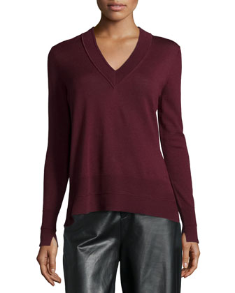 Leanna V-Neck Long-Sleeve Sweater, Burgundy