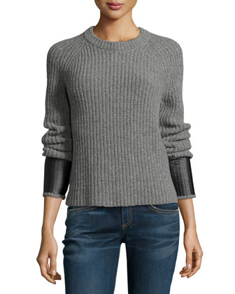 Bonnie Crewneck Long-Sleeve Sweater, Medium Gray
