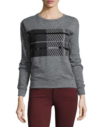 Jewel-Neck Long-Sleeve Plaid Sweatshirt, Dark Heather Gray