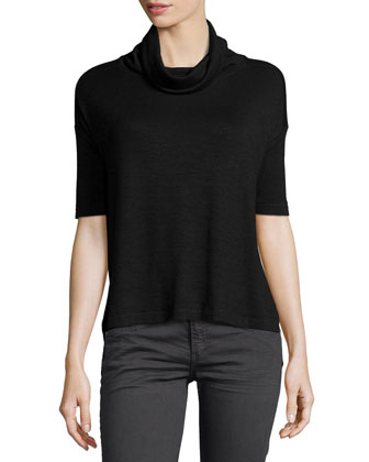 Blake Short-Sleeve Turtleneck Tee, Black