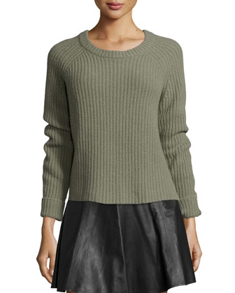 Bonnie Crewneck Ribbed Sweater, Light Green