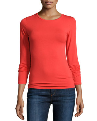 Soft Touch Long-Sleeve Crewneck Top