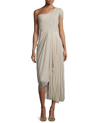 One-Shoulder Pleated Dress, Taupe