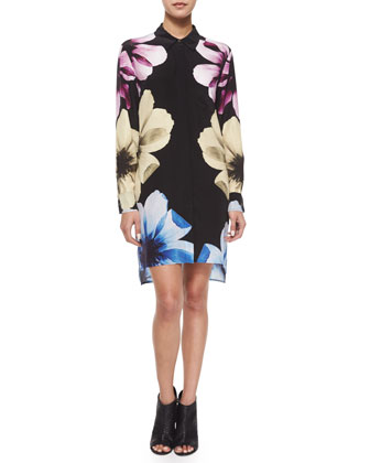 Kerry Floral Long-Sleeve Shirtdress, True Black Multi