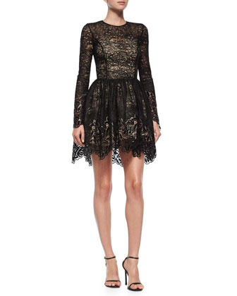 Long-Sleeve Malin Lace A-Line Skirt, Black