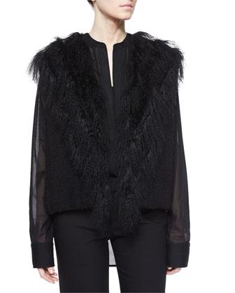 Fur-Trim Knit Vest, Poet Sheer Long-Sleeve Blouse & Full-Length Dress Pants