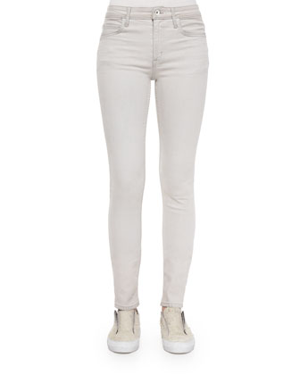 Frayed-Trim Thin Cashmere Top & Denim Skinny Ankle Jeans