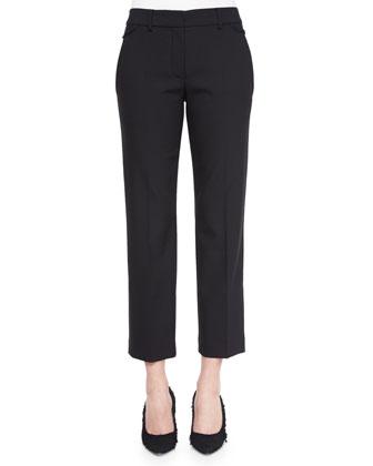 Cropped Wool-Crepe Dress Pants