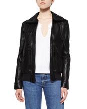 Leather Pocket-Detail Zip Jacket, Split-Neck Cotton Tee & Lightly ...