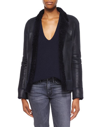 Shearling Fur-Trim Leather Jacket