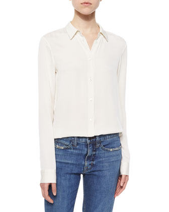 Collared Stretch-Silk Loose Blouse