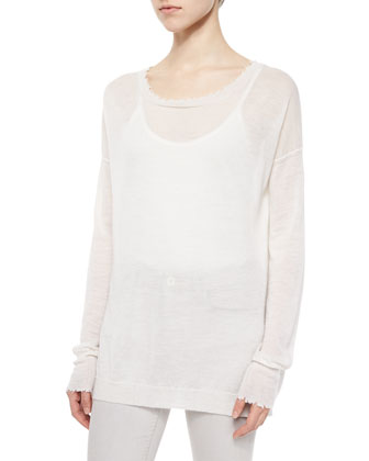 Frayed-Trim Thin Cashmere Top