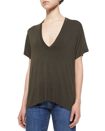 Modal Deep V-Neck Tee & Lightly Distressed Relaxed Jeans