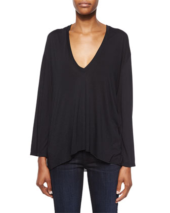 Modal Long-Sleeve V-Neck Top