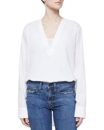 V-Neck Long-Sleeve Tunic Blouse, White