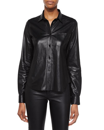 Shrunken Leather Button-Up Top & Slim Leather Pants