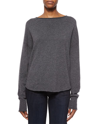 Fine Gauge Cashmere Sweater, Charcoal