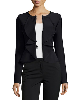 Ruffle-Front Fitted Jacket, Black Combo