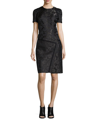 Short-Sleeve Embroidered Dress, Midnight Forest