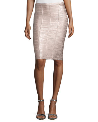 Sleeveless V-Neck Metallic Bandage Top & Pencil Skirt, Rose Gold