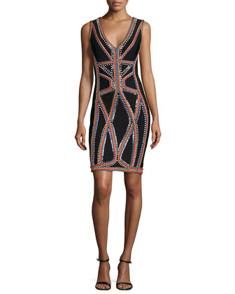 Sleeveless Embroidered Bandage Dress, Black Combo