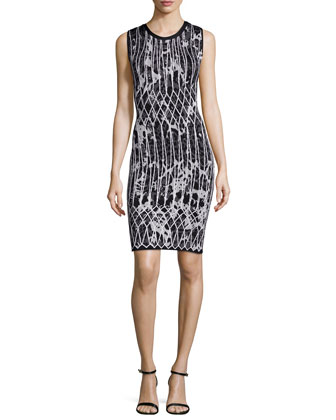 Sleeveless Jacquard Fitted Dress, Black Combo