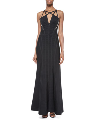 Sleeveless Cage Cutout Gown, Black