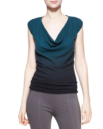 Featherweight Ombre Drape Top, Teal