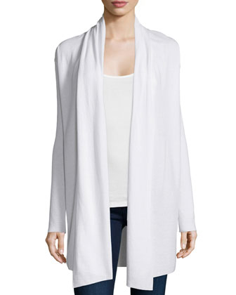 Cotton/Cashmere Double-Knit Open Cardigan