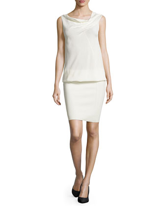 Sleeveless Drape-Neck Dress, Ivory