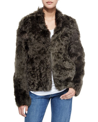 Alpaca Fur Jacket, Cotton Racerback Tank & Lightly Distressed Relaxed Jeans