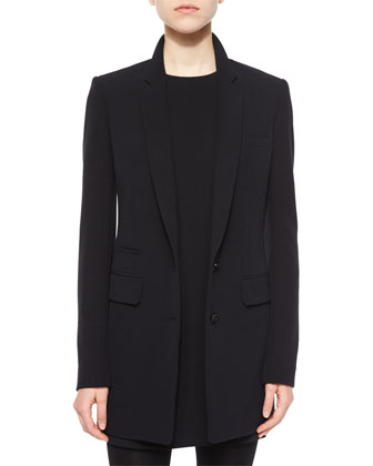Pocket-Detailed Long Blazer, Black