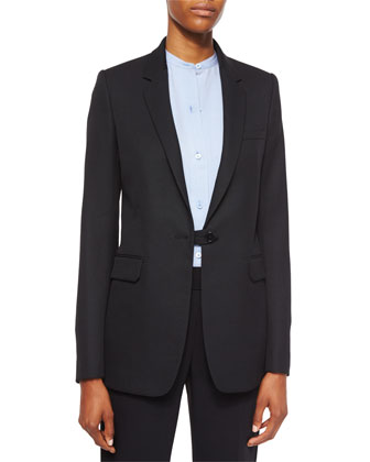 Wool Button-Tab Long Blazer, Matte Silk Twill Button-Up Blouse & ...